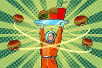 Astronaut with a tray of fast Food