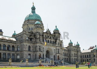 People Standing in Front of Canadian Parliament in Victoria BC