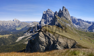 Seceda mountain in the Dolomites, panorama