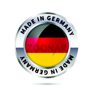 Glossy metal badge icon, made in Germany