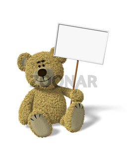 Nhi Bear sitting holding a sign
