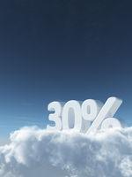 die zahl dreißig und prozentzeichen auf wolken - 3d rendering