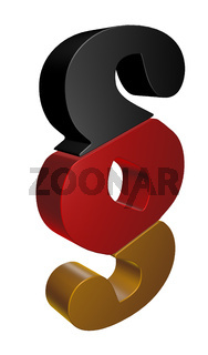 paragraph symbol in schwarz rot gold - 3d illustration