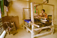 Woman with loom in Bangladesh
