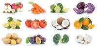 Obst und Gemüse Früchte Sammlung Äpfel, Orangen Kokosnuss Essen Freisteller