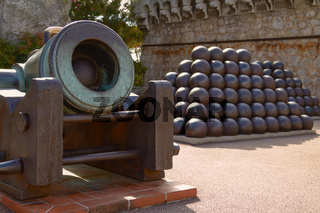 Pyramids of Cannonballs and Cannon near Prince Palace in Monaco