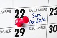 Wall calendar with a red pin - December 22