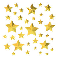 Many gold stars on white background