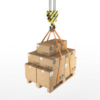3D rendering of a crane hook with a load on a pallet