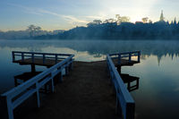 Da Lat travel, bridge reflect on lake