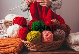 Female knits sweater