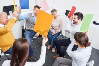 Team im Workshop für Teambuilding