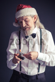 Office Santa setting fire for Bengal lights.