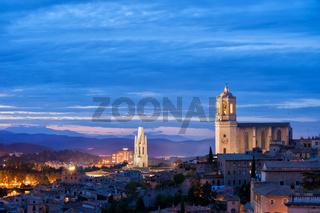 City of Girona twilight cityscape in Catalonia
