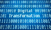 Binary code with the word Digital Transformation in the center