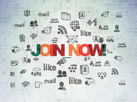 Social media concept: Join now! on Digital Data Paper background