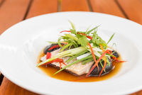 Steamed sea bass fillet