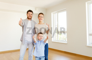 happy family with child moving to new home