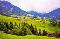 Saint Magdalena in Val Funes landscape view