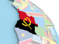 Flag of Angola on globe