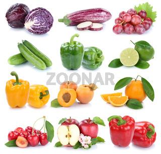 Obst und Gemüse Früchte Apfel Orange Farben frische Collage Freisteller freigestellt isoliert