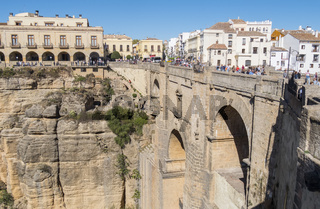 New Bridge over Guadalevin River in Ronda, Malaga, Spain. Popular landmark in the evening