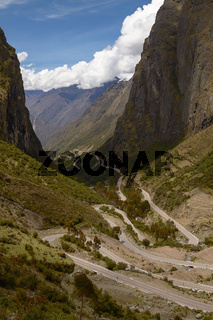 Serpentine Road for Crossing Andes Mountains between Peru and Bolivia
