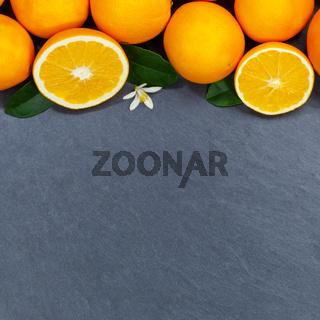 Orangen Orange Frucht Früchte Quadrat Textfreiraum Copyspace Schieferplatte von oben