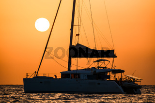 Sail Boat Silhouette  at Sunset