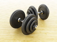 3d Black dumbbells for fitness