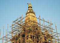 Scaffolding around a temple in Patan, Nepal