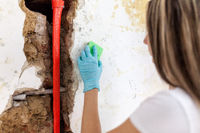 Cleaning up dangerous fungus from a wet wall after water pipe leak at home
