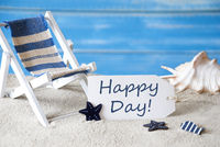 Summer Label With Deck Chair And Text Happy Day