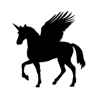 Pegasus Unicorn silhouette mythology symbol fantasy tale.