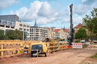 Baustelle des neu entstehenden Domviertels in Magdeburg