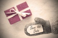 Pink Gift, Glove, Text Save The Date, Instagram Filter