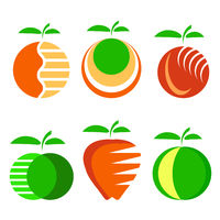 Set of Different Apple Fruit Icons Isolated