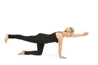 Yoga Frau in schwarz_Majariasana