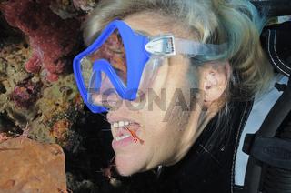 Taucherin mit Putzergarnele im Mund
