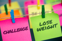 Notes concept for motivation for challenge to lose weight