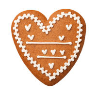 Gingerbread Heart Isolated on White Background