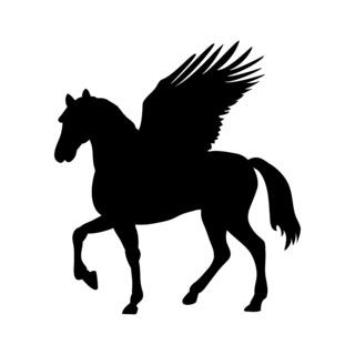 Pegasus silhouette mythology symbol fantasy tale.
