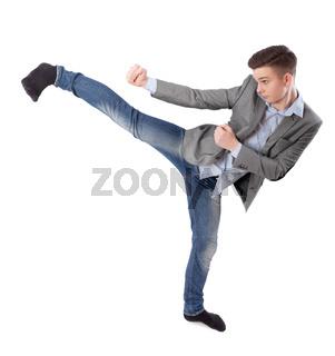 boy does karate kick