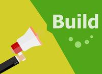 flat design business concept. Build. digital marketing business man holding megaphone for website and promotion banners.