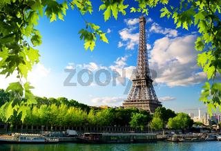 Seine in Paris with tower