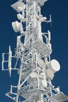 Transmitter tower frozen in winter frost