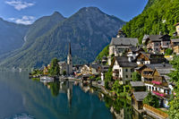 Alps, Hallstatt, Austria, Traditional Wooden Houses Up To The Hill