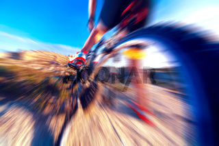 Sport and healthy life.Mountain bike and landscape background