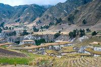 Fields of Zumbahua in Ecuadorian Altiplano. Highland Andes near Quilotoa lagoon, South America
