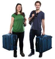 Junge Leute mit Koffer Reise reisen verreisen Urlaub jung lachen Freisteller